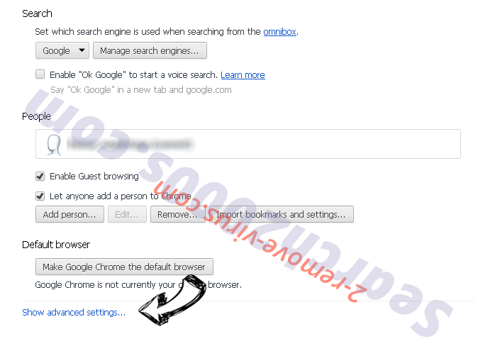 Redirectmaster.com Chrome settings more