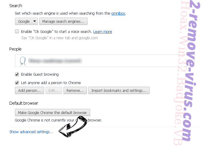 Search.searchworm.com Chrome settings more