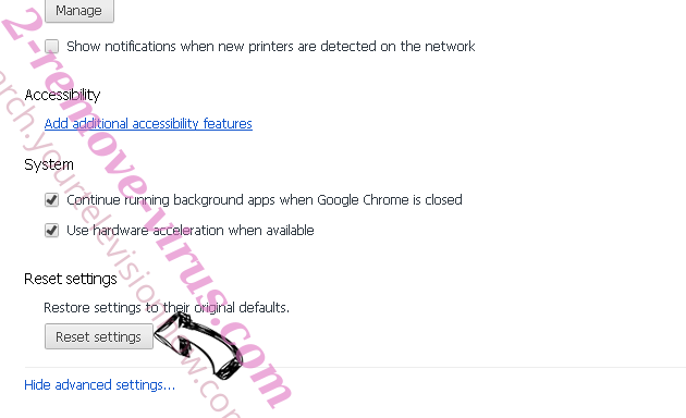 Touch-here.site Chrome advanced menu