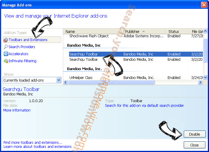 Cybersearch.xyz IE toolbars and extensions