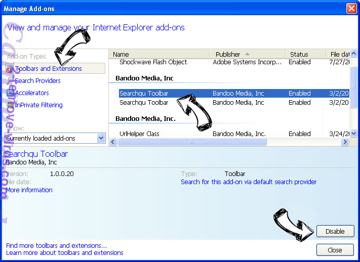 TopSportsSearch IE toolbars and extensions
