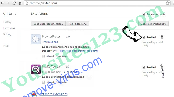 Yoursites123.com Chrome extensions disable