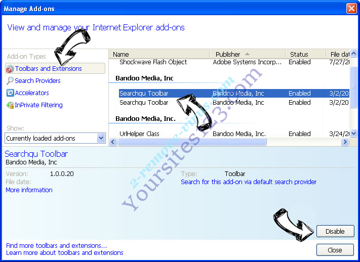 Yoursites123.com IE toolbars and extensions