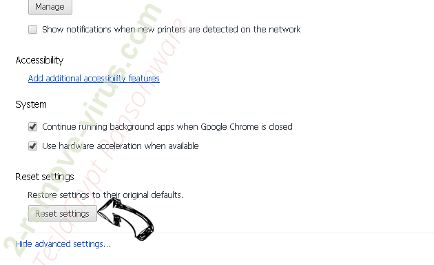 ChannelSystem Adware Chrome advanced menu