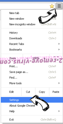 incognitosearchhome virus Chrome menu