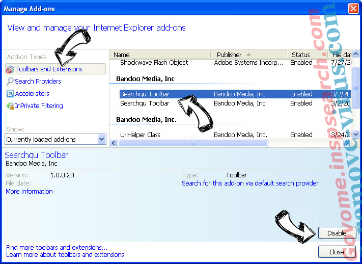 incognitosearchhome virus IE toolbars and extensions