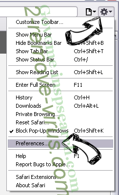 Search-me.club Virus Safari menu