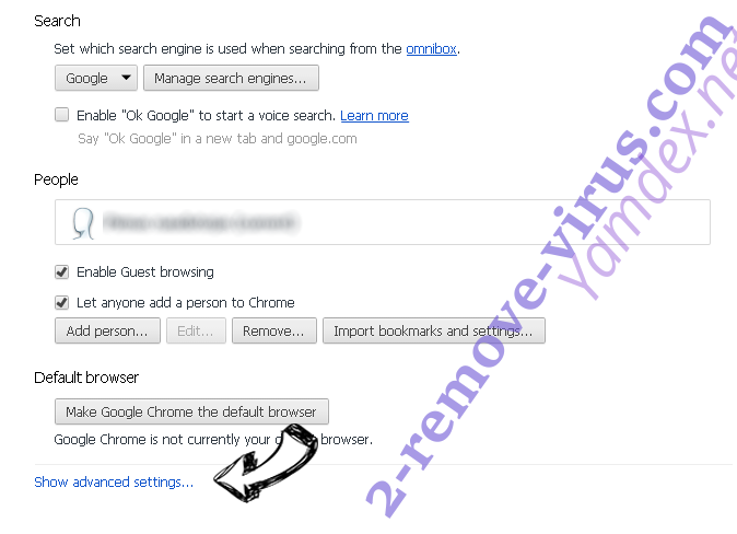 Yamdex.net Chrome settings more