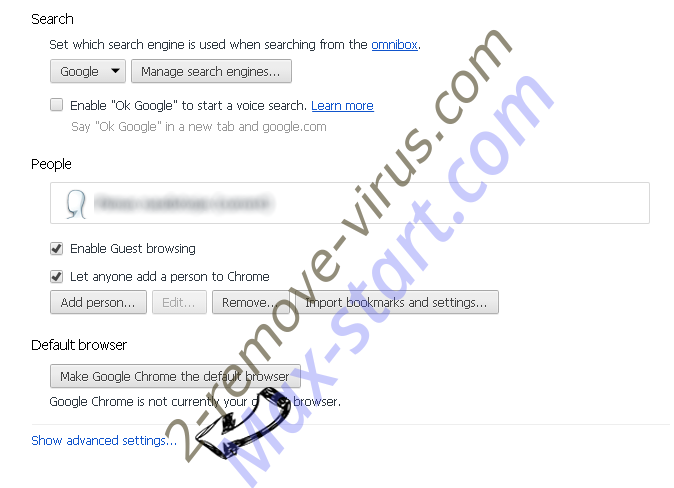 StreamSearchVault Search Chrome settings more