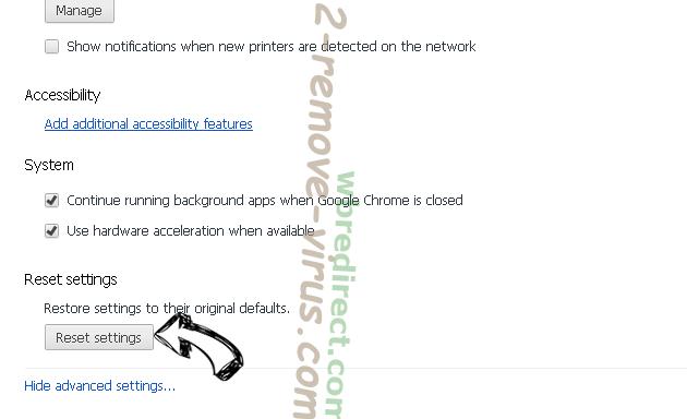 wbredirect.com Chrome advanced menu