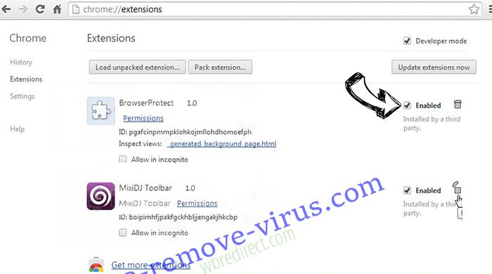wbredirect.com Chrome extensions disable