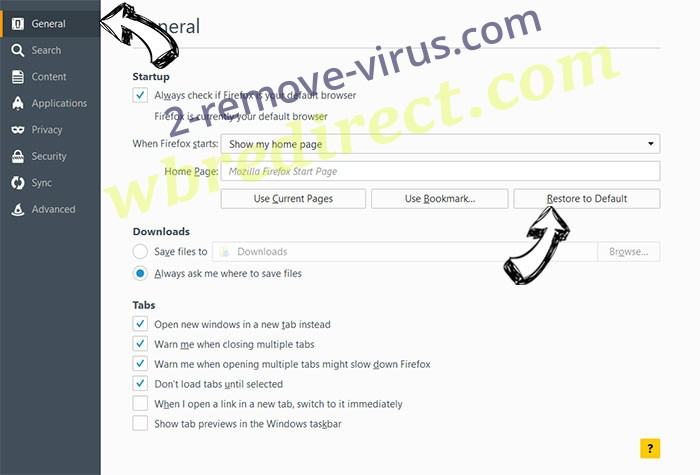 wbredirect.com Firefox reset confirm