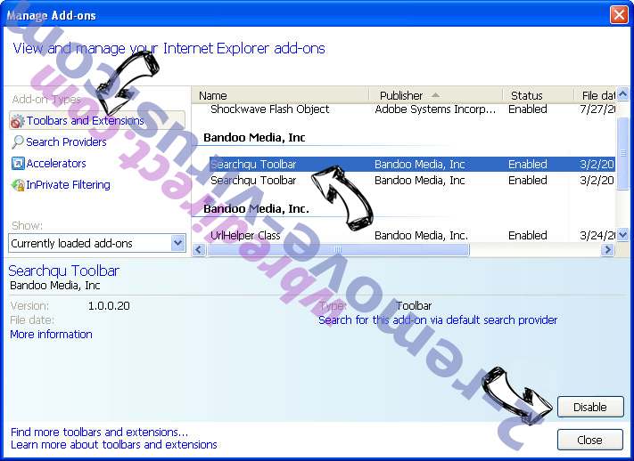 wbredirect.com IE toolbars and extensions