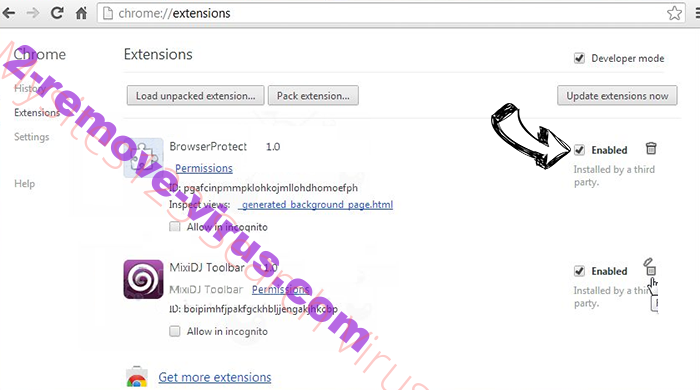 Peachlandeu Virus Chrome extensions disable