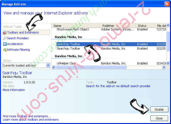 FreeSearchConverter IE toolbars and extensions