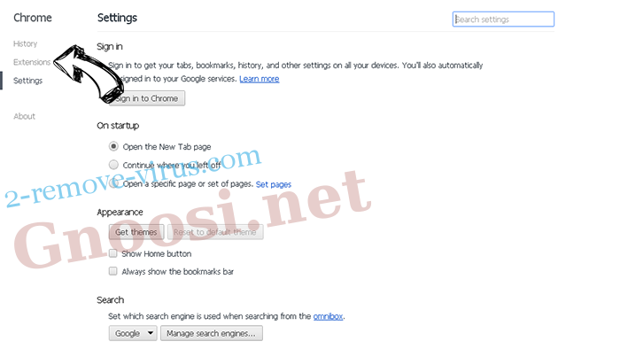 Search Lime browser hijacker Chrome settings