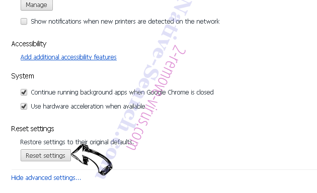 Nistartedwo.biz virus Chrome advanced menu
