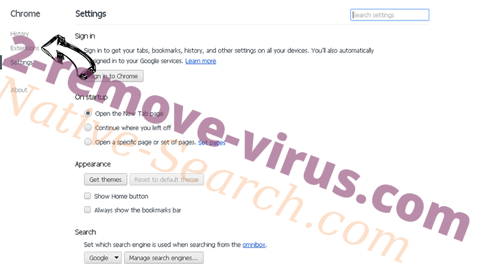 Nistartedwo.biz virus Chrome settings