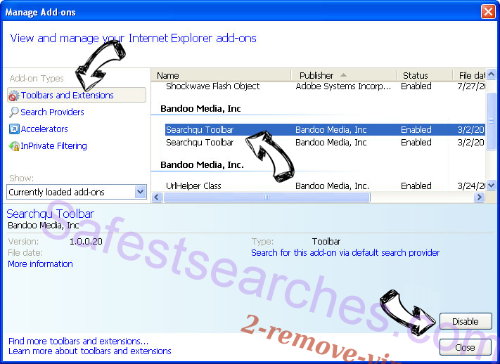 Search.htrackflightsnow.net IE toolbars and extensions