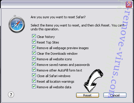 Funcy Web browser hijacker Safari reset