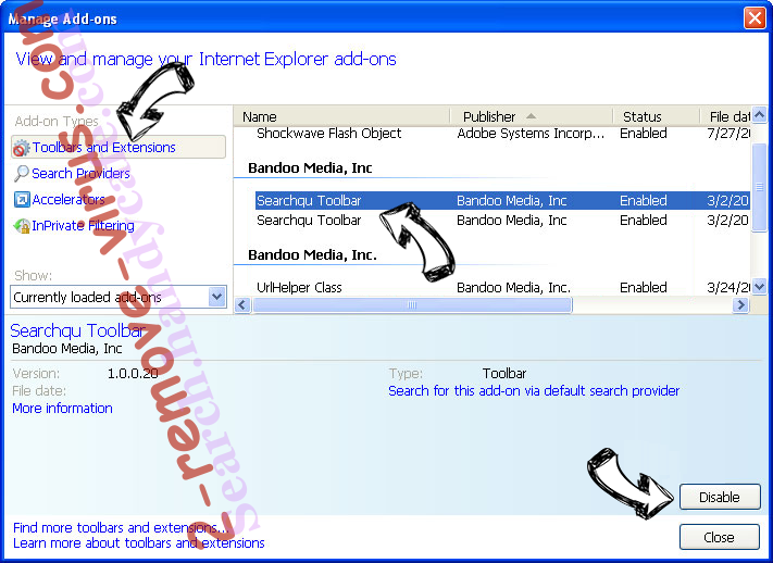StreamSearchWeb IE toolbars and extensions