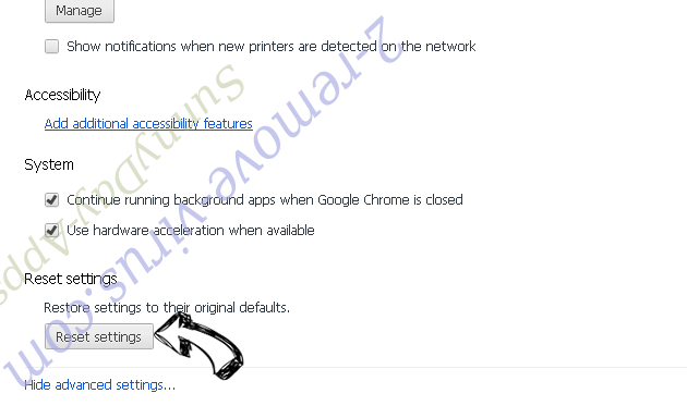Tag Search Adware Chrome advanced menu
