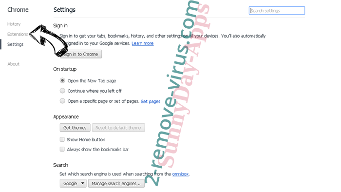 Tag Search Adware Chrome settings