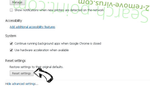 Search.Autocompletepro.com Chrome advanced menu
