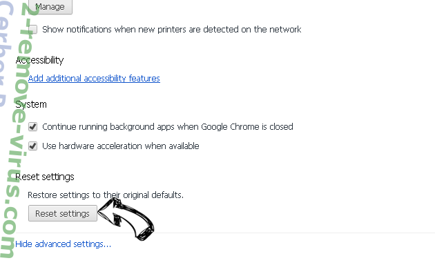 Cerber Ransomware Chrome advanced menu