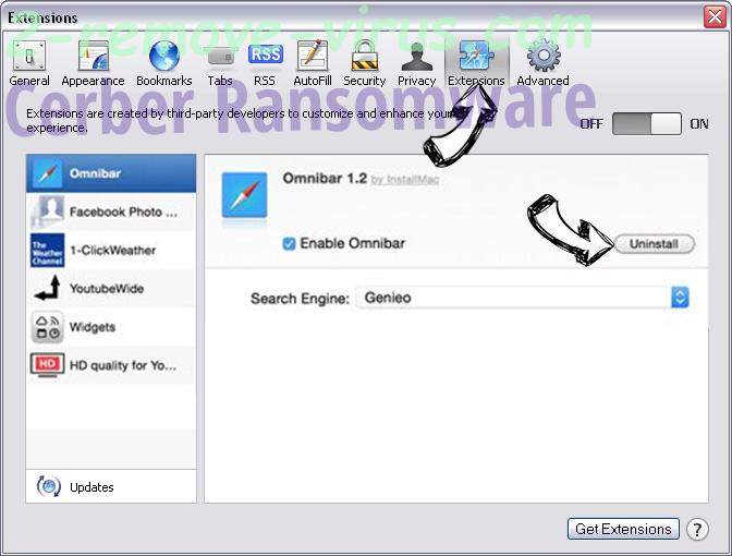 Cerber Ransomware Safari extensions
