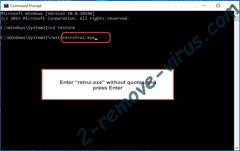 Delete .CRYSTAL Files Ransomware - command prompt restore execute
