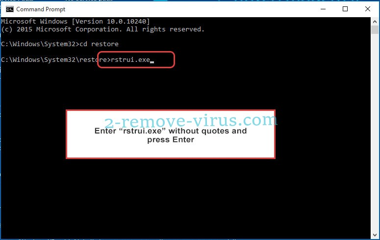 Delete .rootiunik Files Ransomware - command prompt restore execute