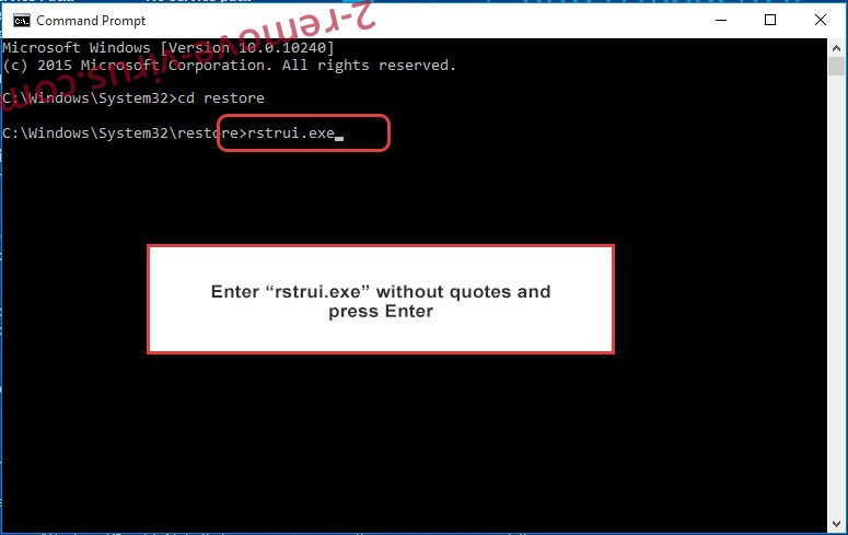 Delete .Ragnarok extension ransomware - command prompt restore execute