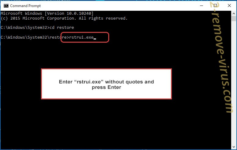Delete .Topi extension ransomware - command prompt restore execute