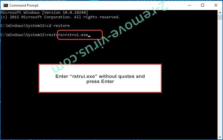 Delete Venis Locker Virus - command prompt restore execute