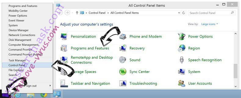 Delete x2convert.com from Windows 8