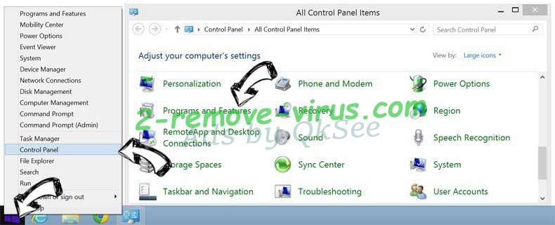 Delete CrypSearch Extension from Windows 8