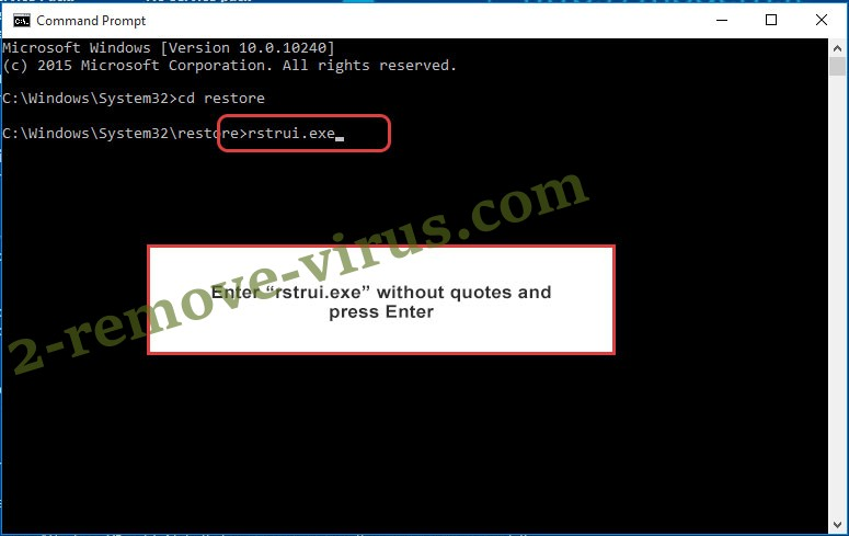 Delete .GANGBANG Files Ransomware - command prompt restore execute