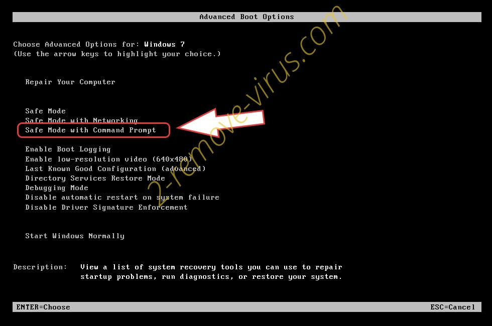 Remove FRM ransomware - boot options