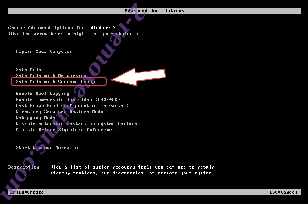 Remove Exx ransomware - boot options