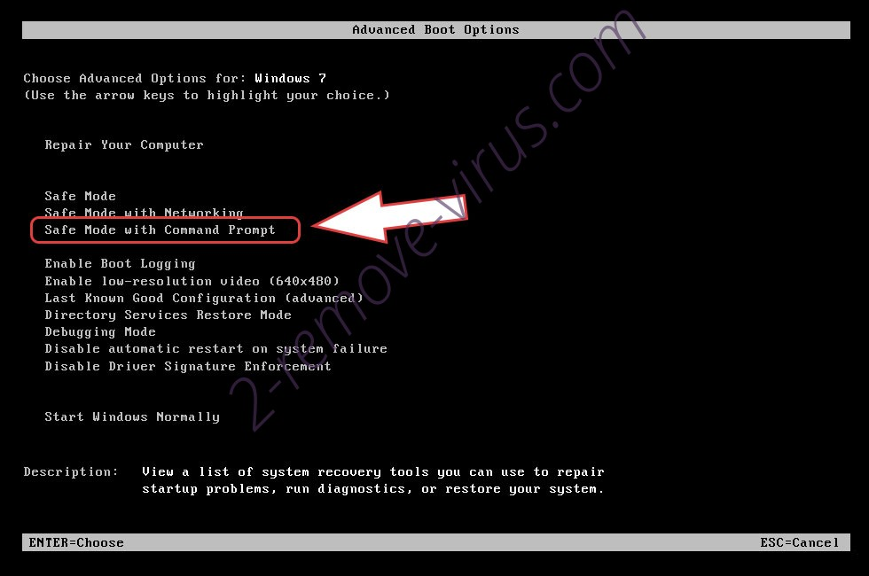 Remove .Mark file ransomware - boot options
