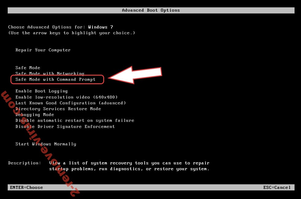 Remove DARUS ransomware - boot options