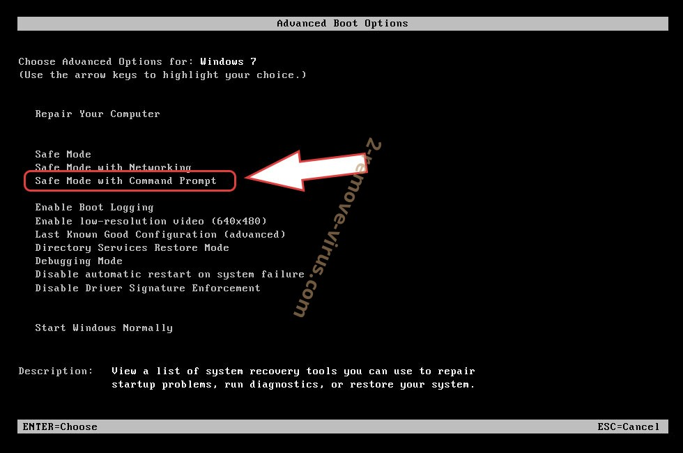 Remove Un1que ransomware - boot options