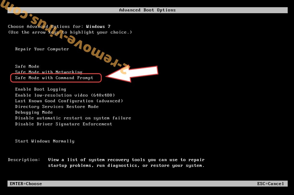 Remove WormLocker ransomware - boot options
