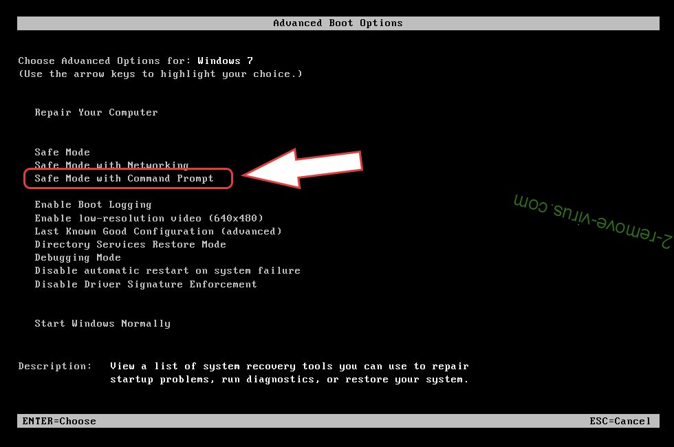 Remove .CR1 files ransomware - boot options