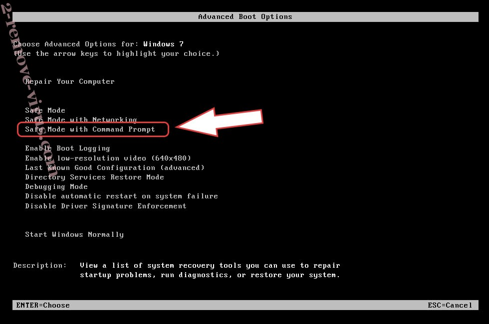 Remove BQD2 ransomware - boot options