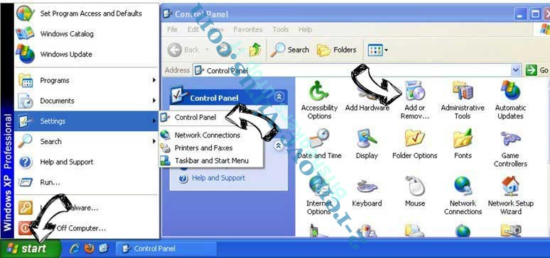 Remove Arcearrsin.online pop-up ads from Windows XP