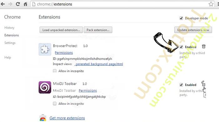 Leddolettitor.info Chrome extensions disable
