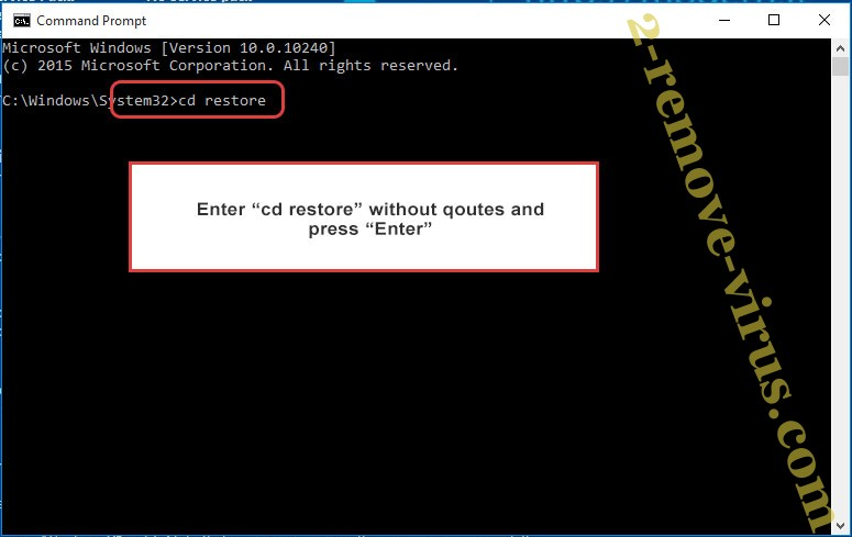 Uninstall .CRYSTAL Files Ransomware - command prompt restore