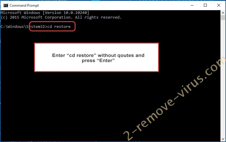 Uninstall Hknet ransomware - command prompt restore